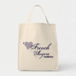 French Angora rabbits bag Grocery Tote Bag