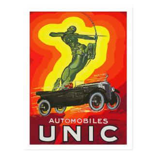 French antique car ad art deco postcard