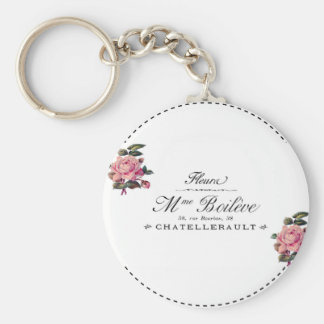 French Antique Flower Invoice with pink roses Basic Round Button Keychain