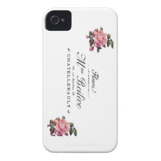 French Antique Flower Invoice with pink roses Case-Mate iPhone 4 Case