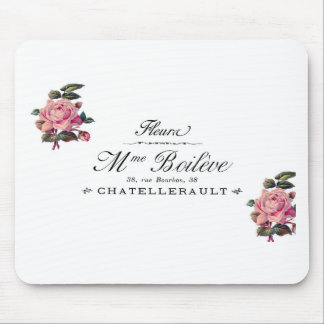 French Antique Flower Invoice with pink roses Mouse Pad