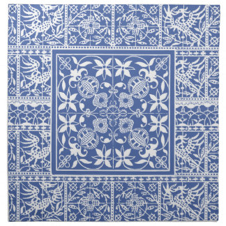French Antique Lace Blue and White Napkin