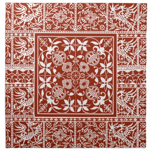 French Antique Lace Red and White Cloth Napkin
