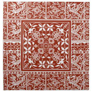 French Antique Lace Red and White Napkin