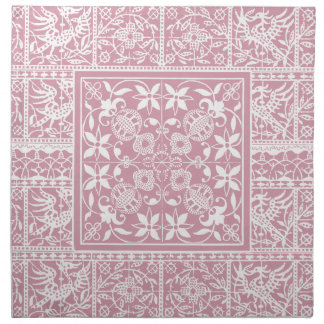 French Antique Lace Vintage Pale Pink and White Cloth Napkin