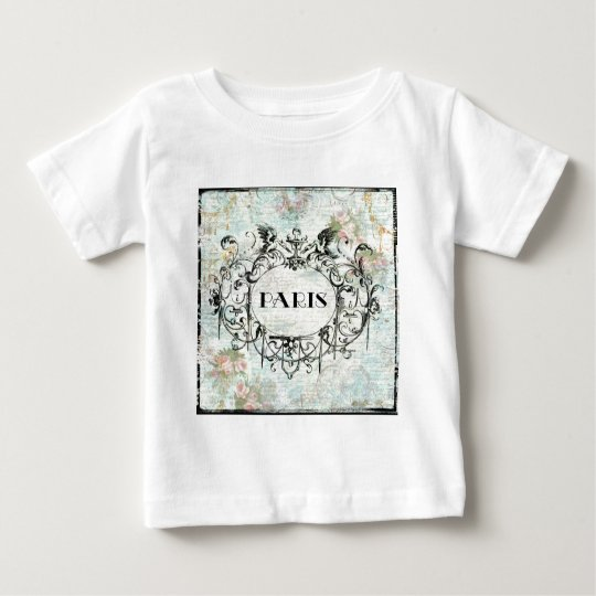 French Antique Style Rococo Design & Pink Roses Baby T-Shirt