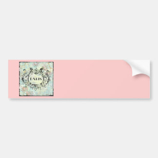 French Antique Style Rococo Design & Pink Roses Bumper Sticker