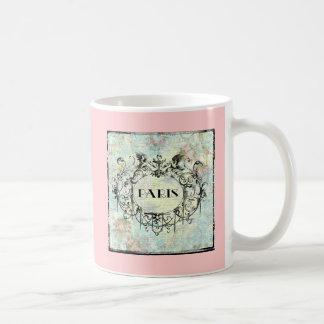 French Antique Style Rococo Design & Pink Roses Classic White Coffee Mug
