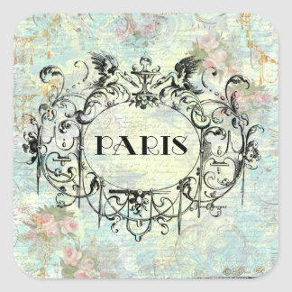 French Antique Style Rococo Design & Pink Roses Square Sticker