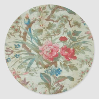 French Antique Toile Bird and Flowers Classic Round Sticker