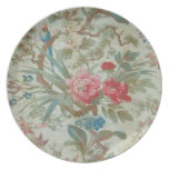French Antique Toile Bird and Flowers Dinner Plate