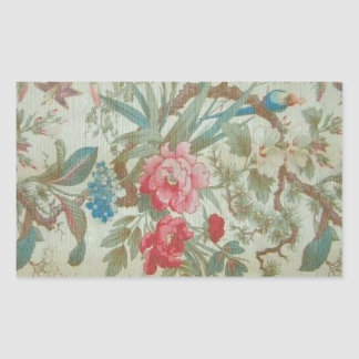 French Antique Toile Bird and Flowers Rectangular Sticker