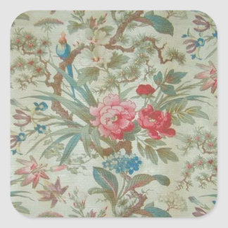 French Antique Toile Bird and Flowers Square Sticker