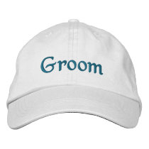 French Aqua Groom Embroidered Hat