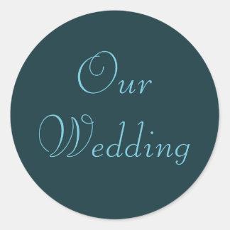 French Aqua Our Wedding Stickers