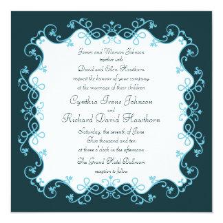 French Aqua Square Wedding Invitations