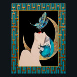 """French Art Deco - Butterfly Kiss Poster<br><div class=""""desc"""">I have taken this French Art Deco picture called - Butterfly Kiss and added an art deco surround in Teal and Copper. This makes a beautiful art deco poster. This poster would look lovely as a print that could be framed. It would look lovely in any art deco themed home....</div>"""