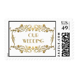 French Art Deco Ivory White Gold Foil Wedding Postage