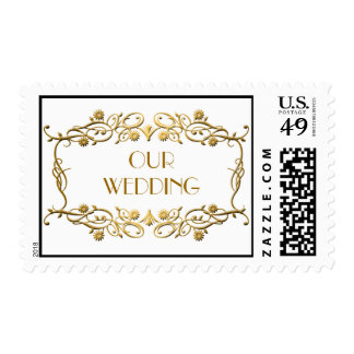 French Art Deco Ivory White Gold Foil Wedding Postage Stamp