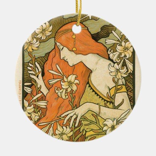 French art nouveau l ermitage poster christmas ornament zazzle