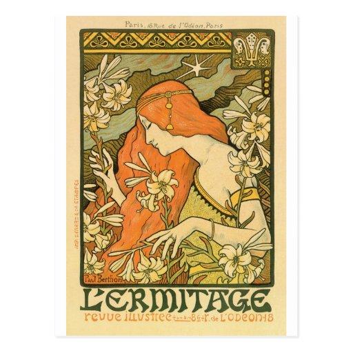 French Art Nouveau L'Ermitage Poster Postcard