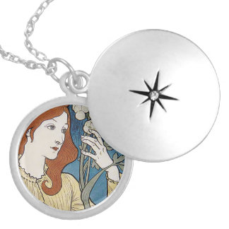 French Art Nouveau Lady Round Locket Necklace