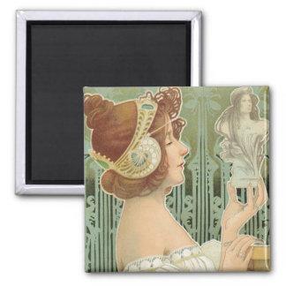 """French Art Nouveau """"Laurier Objets d'Art"""" 2 Inch Square Magnet"""