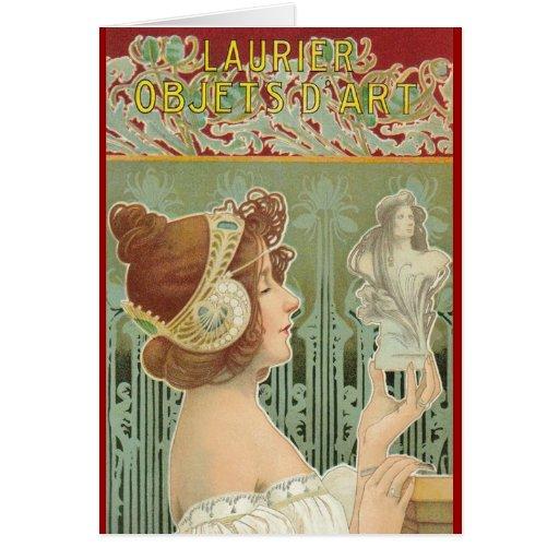"French Art Nouveau ""Laurier Objets d'Art"" Greeting Card"