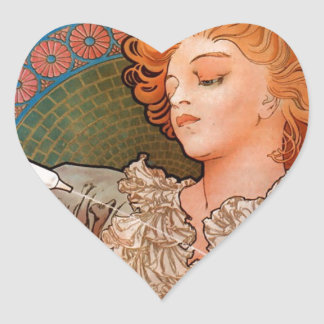 French Art Nouveau Publicity Poster Heart Sticker