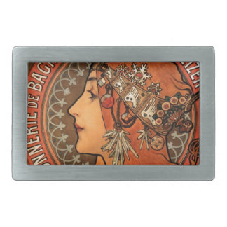French Art Nouveau Publicity Poster Rectangular Belt Buckle