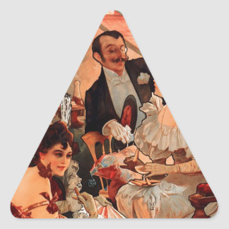French Art Nouveau Publicity Poster Triangle Sticker