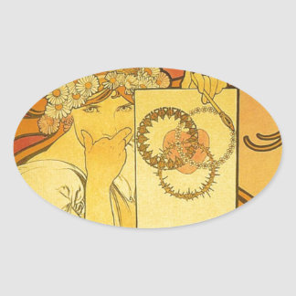 French Art Nouveau Publicity Poster Oval Stickers