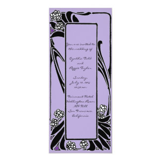 French Art Nouveau Stylized Flower Frame 4x9.25 Paper Invitation Card