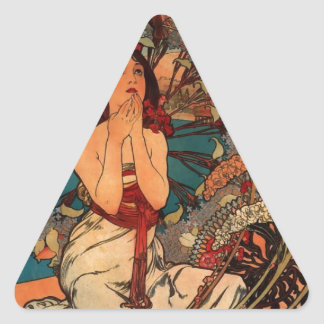 French Art Nouveau Travel Poster Triangle Sticker