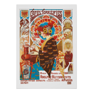 French Art Nouveau vintage illustration coffee Poster