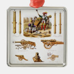 French artillery square metal christmas ornament