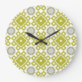 French Asters Wall Clock - Green Diamonds