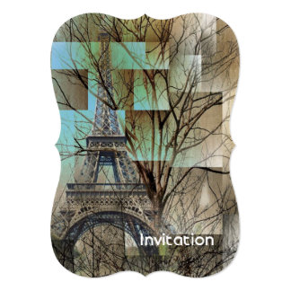 french autumn tree branch Paris eiffel tower Card