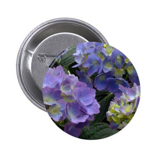 French Baby Blue Hydrangeas 2 Inch Round Button