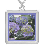 French Baby Blue Hydrangeas Personalized Necklace