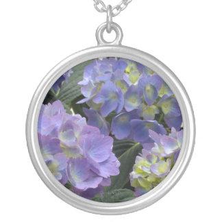 French Baby Blue Hydrangeas Round Pendant Necklace