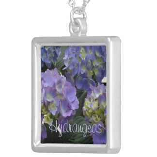 French Baby Blue Hydrangeas Square Pendant Necklace