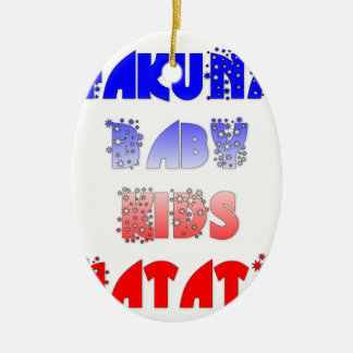 French Baby Kids Hakuna Matata.png Double-Sided Oval Ceramic Christmas Ornament