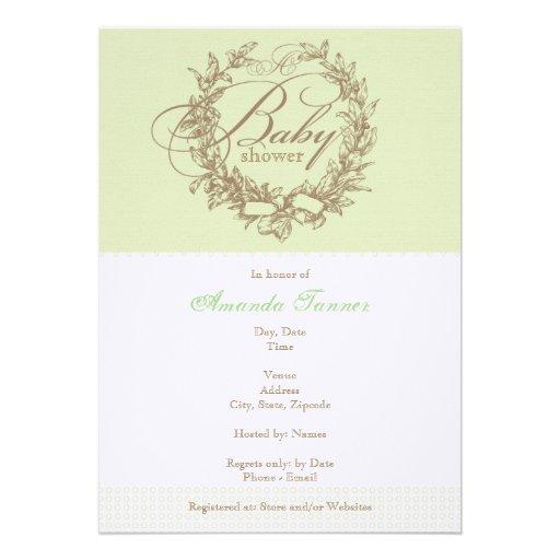French Baby Shower Invitation - Green
