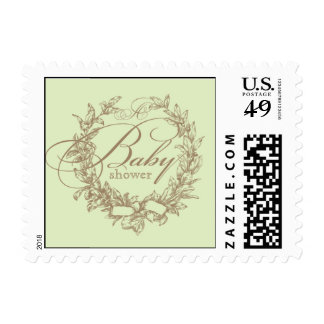 French Baby Shower Postage Stamp - Green