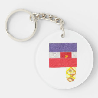 French Baguette Double Sided Keyring Keychain