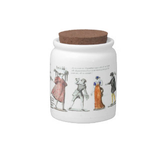 French Ballet Character Illustrations Candy Dishes
