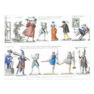 French Ballet Character Illustrations Postcard