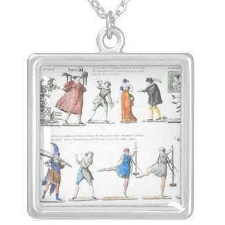 French Ballet Character Illustrations Silver Plated Necklace