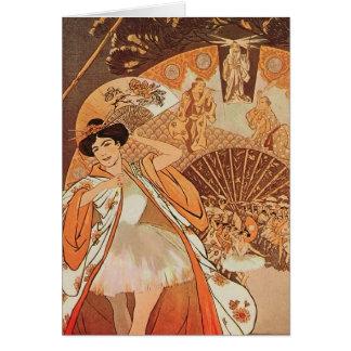 French Ballet Reve Steinlen Japanese Fan Vintage Card
